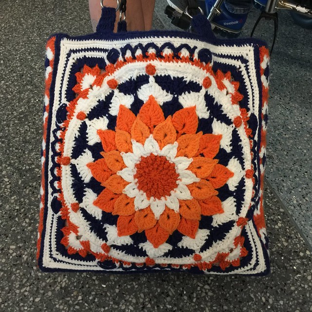 A heavily textured square panel for a large crochet tote