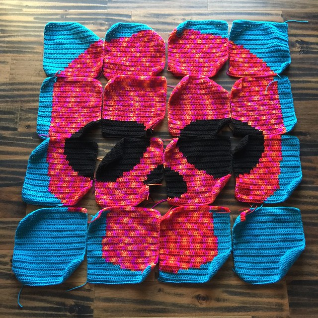The third Day of the Dead crochet yarn bomb in need of twenty-four of the twenty-eight feet of seaming