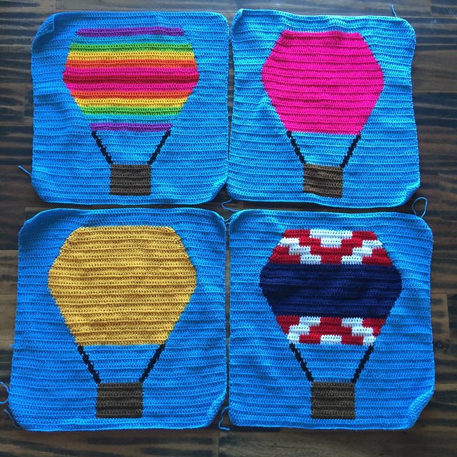 I finish all four panels for the hot air balloon crochet yarn bomb after a morning spent crocheting like I mean it
