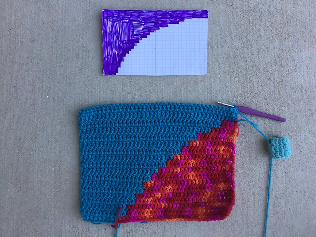 The first square of the third of three yarn bombs