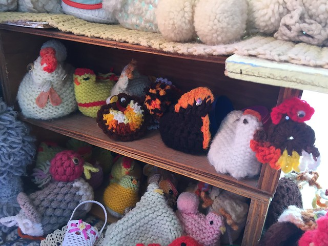 A crochet chicken collection at the World Famous Crochet Museum