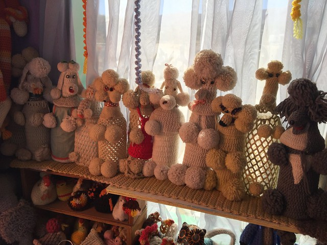 I document the crochet poodle collection that is the crochet backbone of the World Famous Crochet Museum during our brief stop
