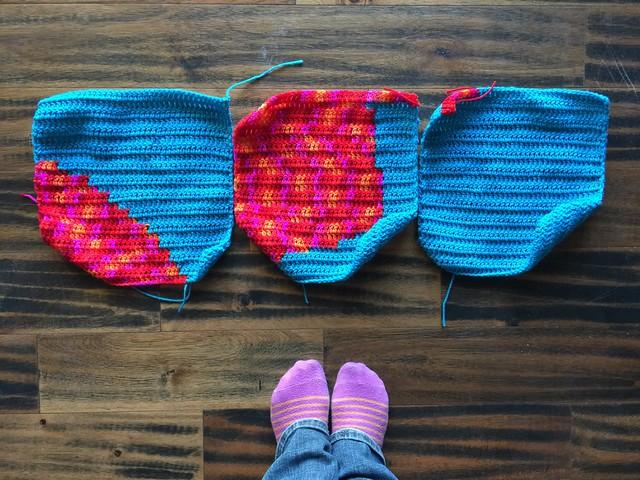 The last three crochet squares needed to finish the third crochet yarn bomb