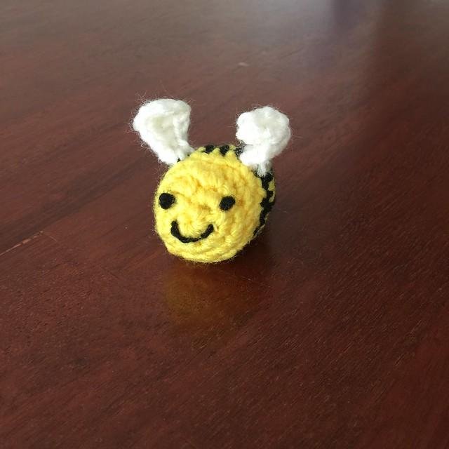 My youngest son follows in my crochet footsteps and crochets an amigurumi bumble bee