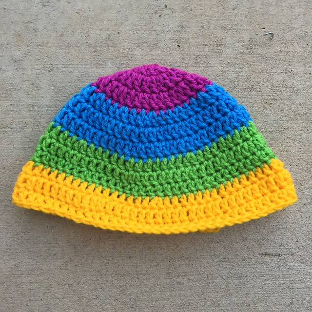 A rainbow inspired mystery crochet hat