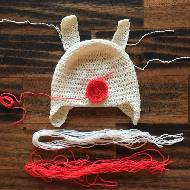 I began my slow llama crochet with yarn to be braided and pieces to be appliqué and attached to the base of the hat