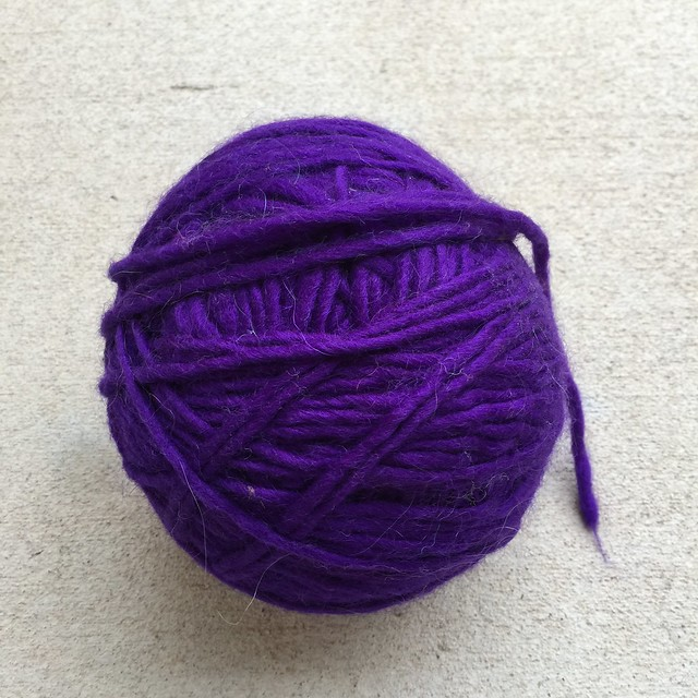 A Purple bulky weight angora wool blend from my yarn stash