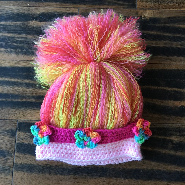My first almost done troll hat without the crochet ears