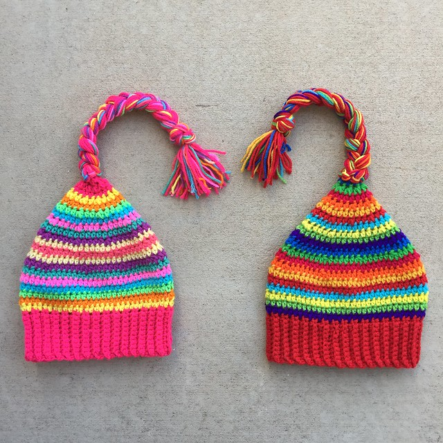 Two crochet scrap yarn hats ready for a scraptastic adventure