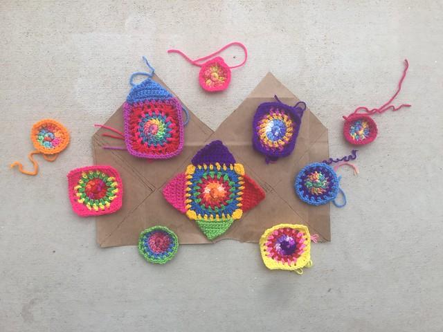 Ten future crochetachella squares for a washable, crochet purse
