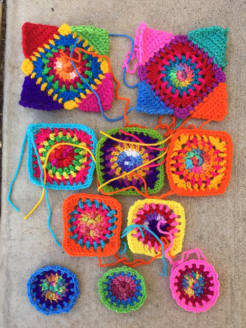 Ten future granny squares for a washable purse