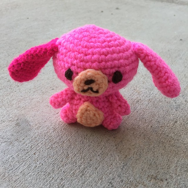 The finished crochet Sugarbunny also demonstrates a tale of two pinks