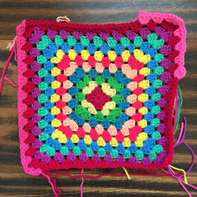 A crochet granny square and a tale of two pinks