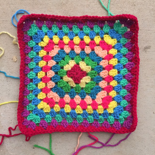 Another great granny square blanket to be worked in a multicolor rainbow of yarns