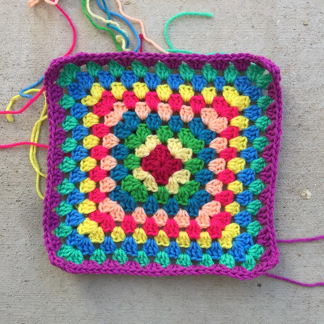 Ten rounds into a great-granny square blanket