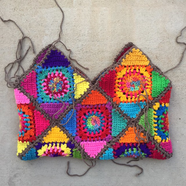 "The interior of the Crochetachella Purse sporting an ""If Jackson Pollock crocheted"" look with ends to be woven in"