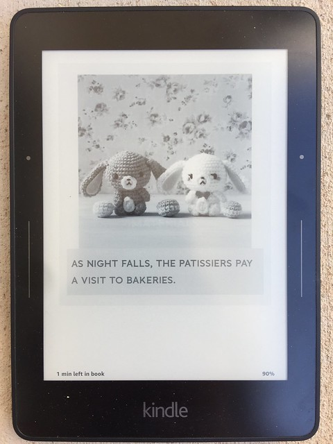 The image of crochet sugarbunnys as seen on a Kindle reader.