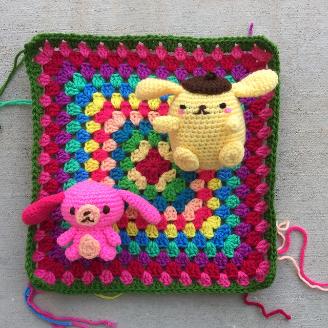 The Sugarbunny and Purin atop the future great granny square blanket