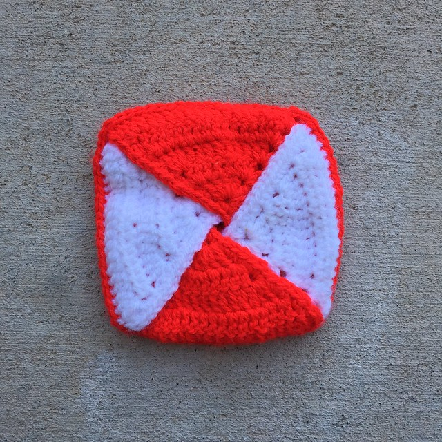 One piece of the crochet hodge podge--a peppermint swirl inspired coin purse