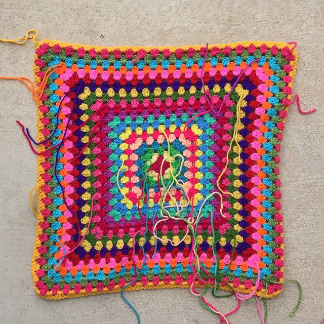 The back of one of the back of the great granny square blankets.