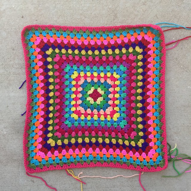 A round of pink for the twenty-first round of a great granny square blanket.