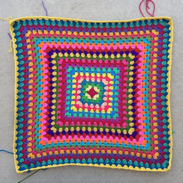 A twenty-seven round multicolor granny square
