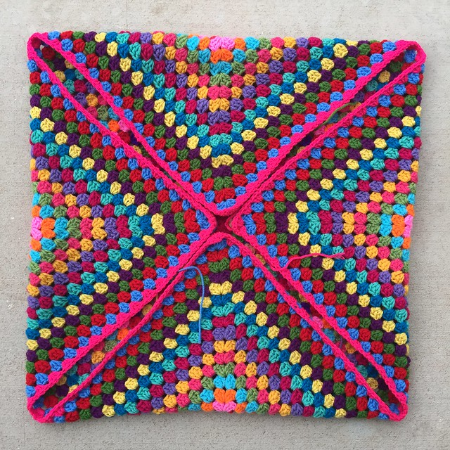 A look at the multicolor great granny square folded