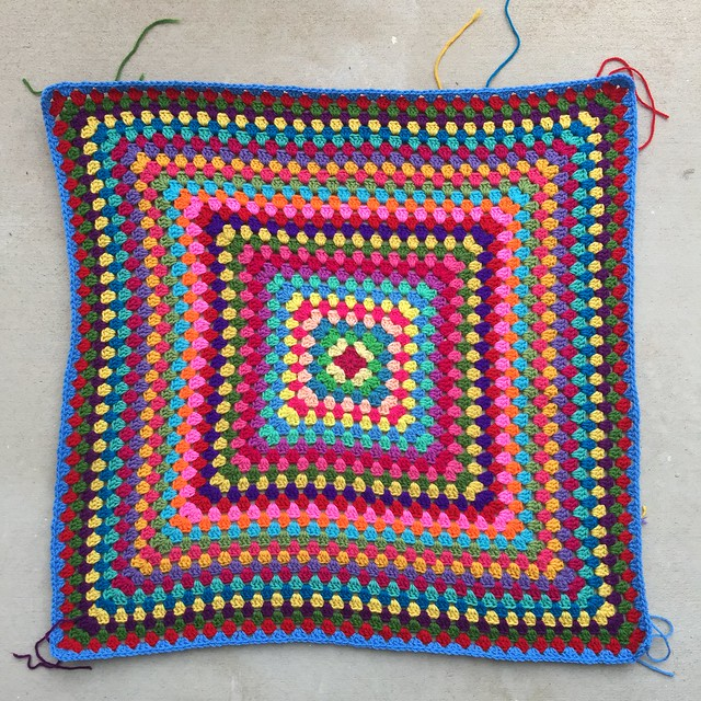 Thirty-one rounds of a great granny square multicolor crochet blanket