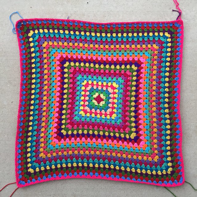 Thirty-two rounds of a great granny square multicolor crochet blanket