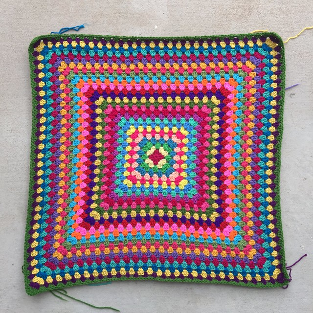 Twenty-nine rounds of a great granny square multicolor crochet blanket