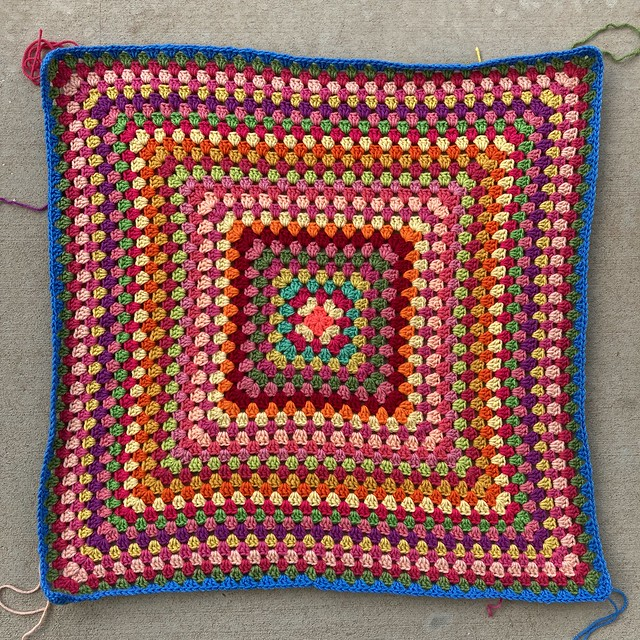 A thirty round multicolor crochet granny square