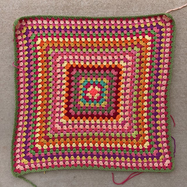 A twenty-nine round multicolor crochet granny square