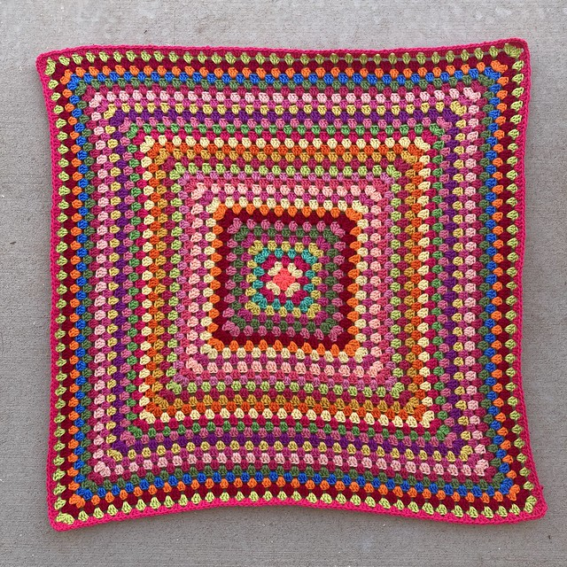 A thirty-four round granny square