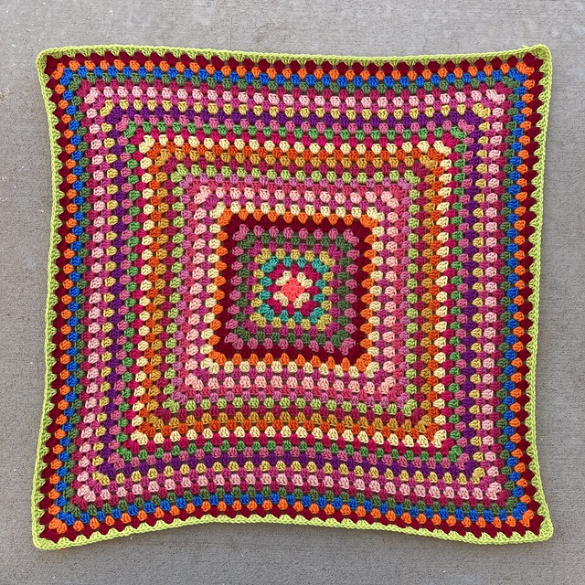 A thirty-three round granny square