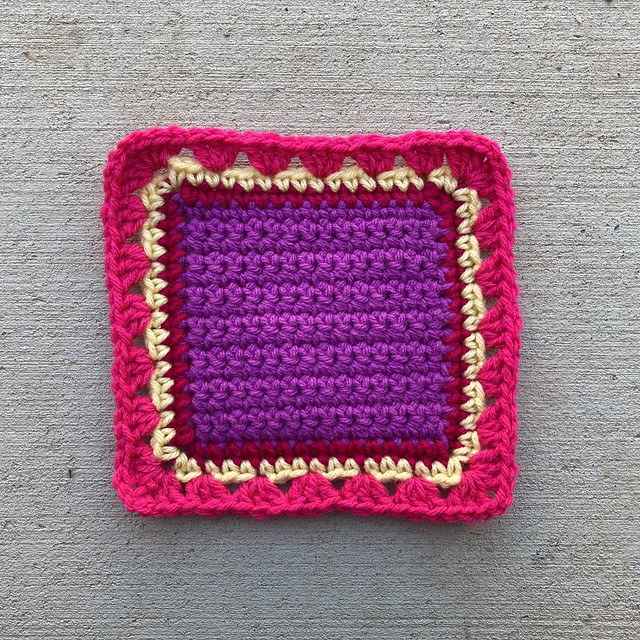 The completed D-2 square from the wayback crochet machine