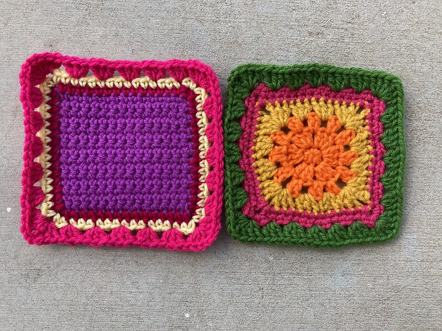 Multicolor crochet squares D-2 and E-2 side by side