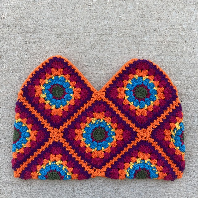 The body of a future granny square purse