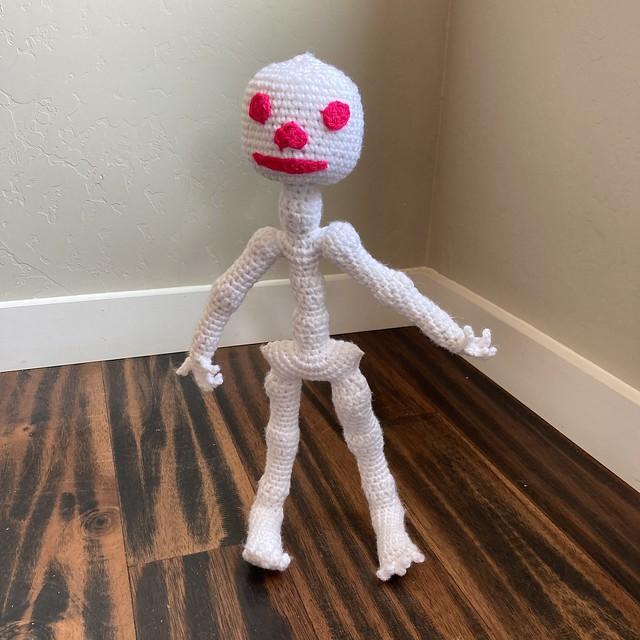Mr. Bone Headz with a skull
