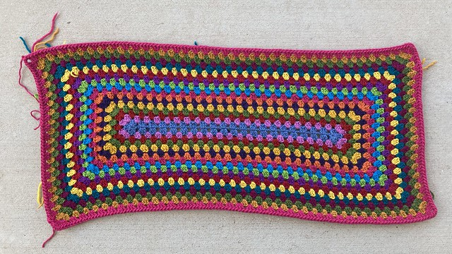 Knowing when you are done with a multicolor crochet granny rectangle rug