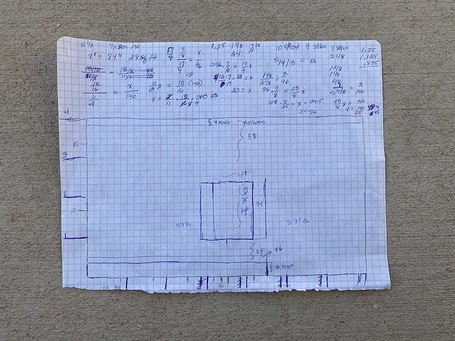 "My preliminary graph paper sketch for my ""My Last Door"" yarn bomb"