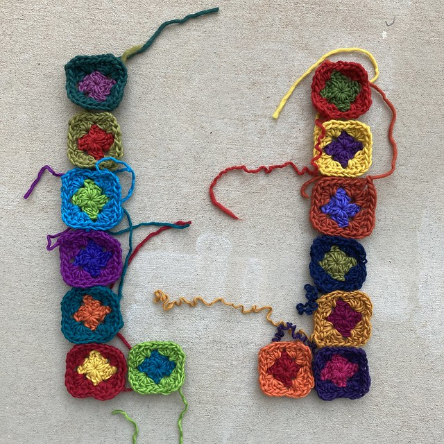 Fourteen two-round granny squares
