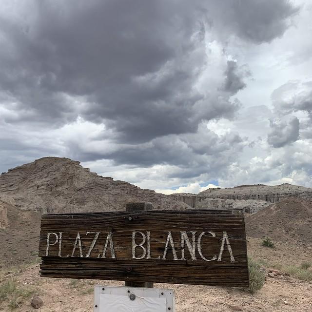 The Plaza Blanca sign, Plaza Blanca, New Mexico
