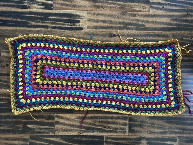 Seventeen rounds in on a granny rectangle rug