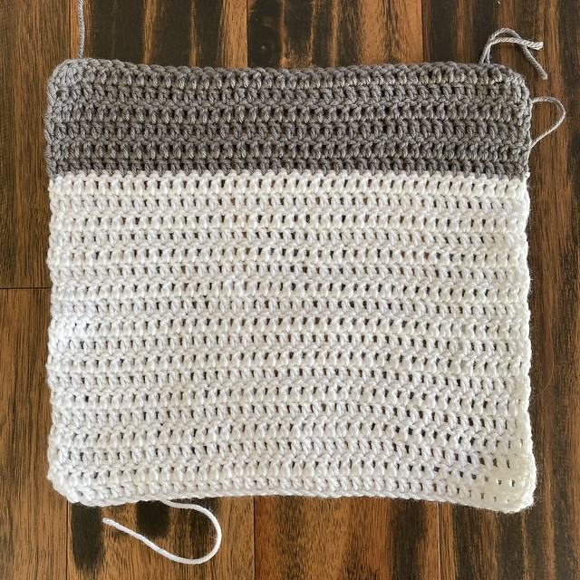 The same double crochet square after stretching