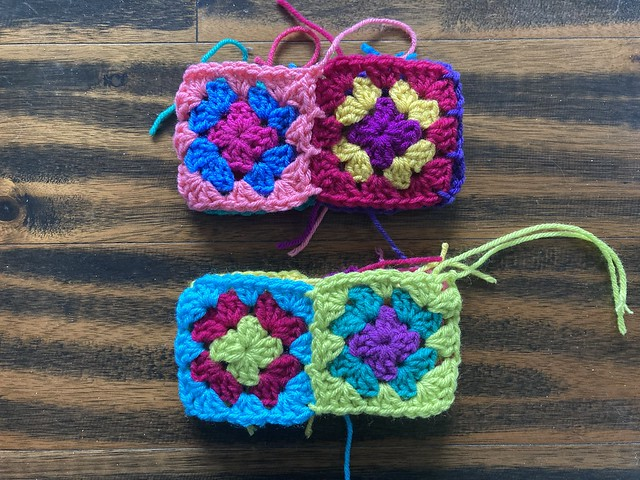 The other side of the three-round granny squares joined