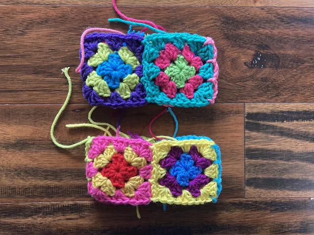 One side of the three-round granny squares joined